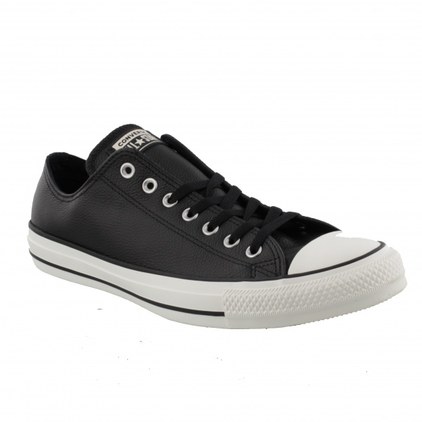 CONVERSE CHUCK TAYLOR ALL STAR - OX - LEATHER BLACK/BLACK/EGRET