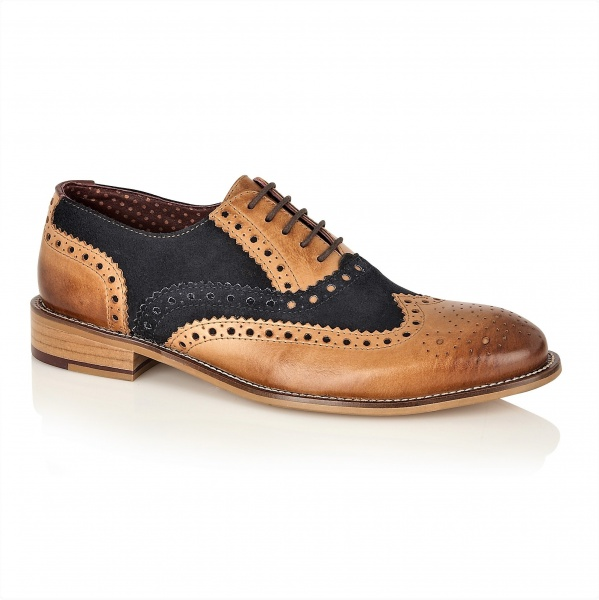London Brogues Gatsby Tan Leather/Navy Suede