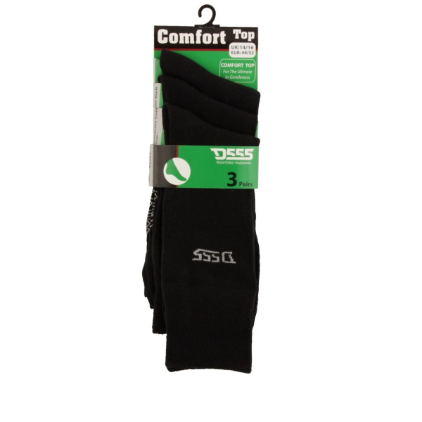 D555 Comfort Top Black Luxury Socks