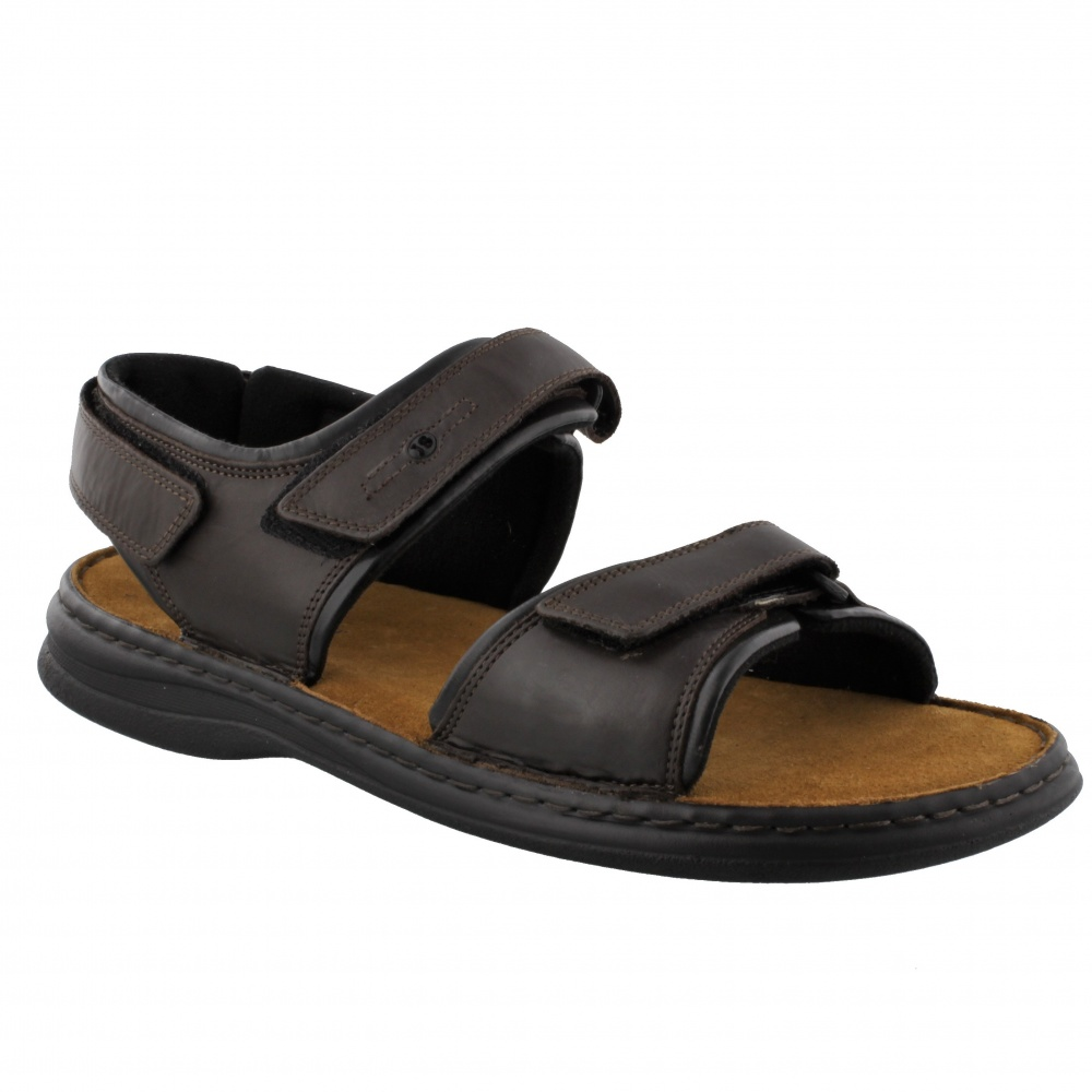 Josef Seibel Rafe Sandal Dark Brown and Black