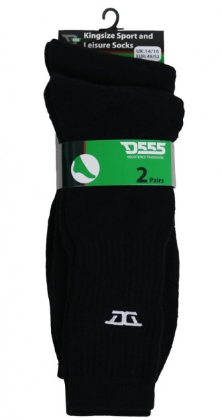 D555 Kingsize Logan Cotton-Elastane Black Sport Sox 2 pack-16